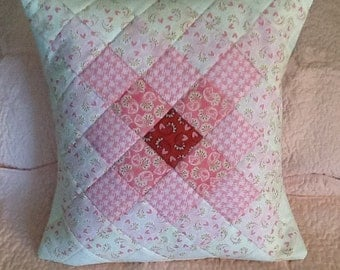 Decorative Bed Pillow in Soft Pink with Hearts