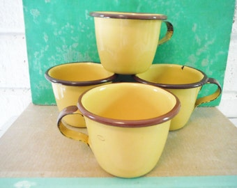 Small enameled tin espresso cups mugs vintage shabby brown and golden yellow retro  enamelware set of four