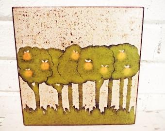 Citrus grove tile oranges Italian pottery tile boho vintage  trivet green orange