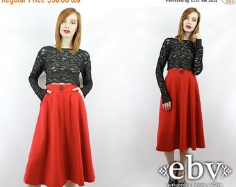 Vintage 80s Red High Waisted Wool Skirt XS S High Waisted Skirt Midi Skirt Red Wool Skirt High Waist Skirt