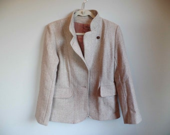 Vtg Womens Herringbone Tweed Wool Jacket Blazer Coat Tan Tailored Small Medium