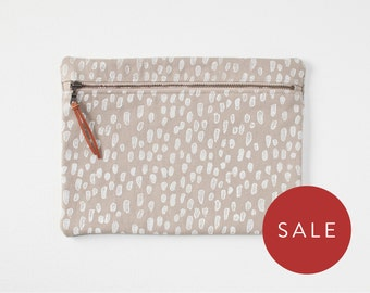 Front Zip Pouch - Block Print Geometric Clutch Purse - Zippered Handbag - Bridesmaid Gift