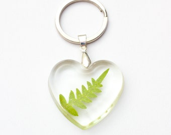 Heart Natural Forest Leaf keychain - leaf keychain, natural keyring, fern key ring, forest keychain, natural jewellery, nature, green