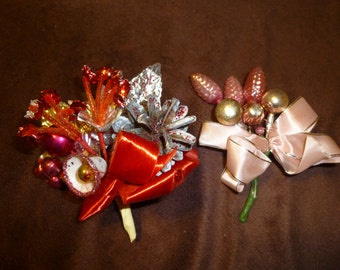 Corsages Vintage Holiday Lot of 2 Pink and Red