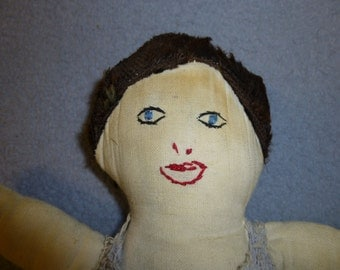 Cloth Antique Doll Handmade Embroidered Face Crochet Outfit