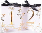 METALLIC FOIL Floral Wedding Table Numbers - Metallic Wedding Table Centerpiece - Gold Foil Wedding Decor - Gold Foil Table Numbers