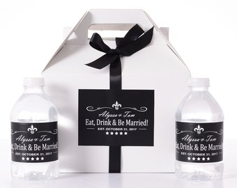Thank-You Gifts - 25 Wedding Favor Box / Welcome Box Labels Gable Wedding Box Set with 50 Water Bottle Labels