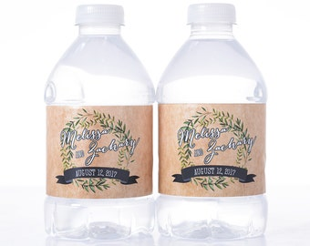 Rustic Water Bottle Labels - 30 Personalized Wedding Water Bottle Labels - Wedding Bottle Wraps - Personalized Bottled Water Labels