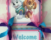 Paw Patrol Everest and Skye Door Sign