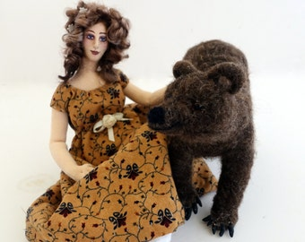 Brave cloth art doll needle felted totem animal brown bear posable wire armature soft sculpture