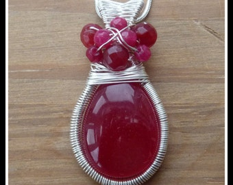 Ruby Pendant wire wrapped in Sterling Silver with coiled wire frame and woven bail, July birthstone