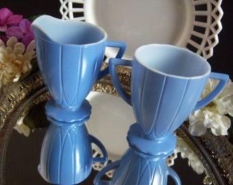 Blue Milk Glass Creamer and Sugar Bowl - Blue Milk Glass - Milk Glass Creamer - Milk Glass Sugar Bowl - Vintage Kitchen - Vintage Milk Glass