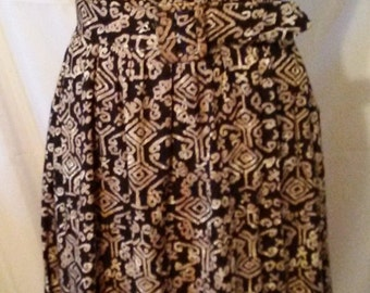 """LABOR DAY SALE Nice 80s Vintage Hawaii Tribal Aloha Print Day Dress-Belted Midi-Office Resort Preppy Cruise Casual Date-Size 4-Small-36"""" Bus"""