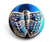 23mm Golden Butterfly Czech Glass Button, Dark Blue and Gold Handmade Button bead, Bird, size 10, 1pc - 0971