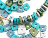 Ceramic chip beads MIX - Hidden Island - Greek spacers, Blue, Teal, Green, Silver, tiny washer beads, 5mm - approx.70pc - 2701
