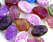 Beads mix, Purple inlays, large fantasy oval czech glass beads, Ornament, wavy beads - 17x13mm - 10Pc - 2673
