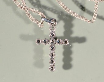 Vintage 50s Cross Necklace Silver Cross Marcasite Cross Small Cross Silver Pendant Necklace French Jewelry Stamped Necklace