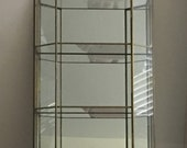 Vintage Brass and Glass Mirrored Knick Knack Display Cabinet / Case  / wall mounted