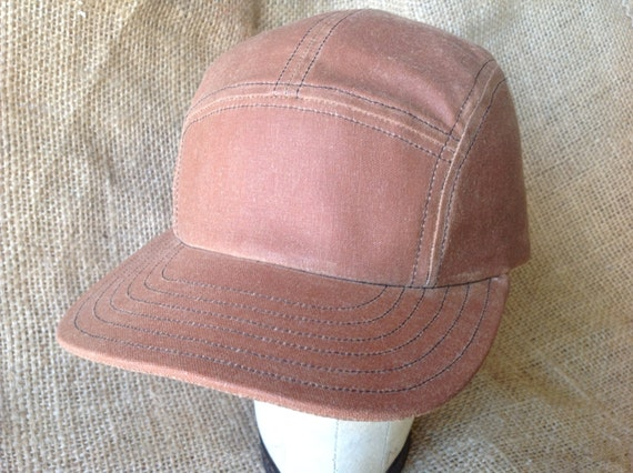 Light Brown Waxed Cotton 5 panel cap. Fitted to any size. Leather or cotton sweatbands, adjustable available upon request.