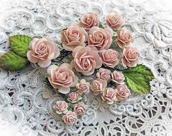 Reneabouquets Mini Roses And Leaves Flower Set-Mulberry Paper Flowers  - Dusty Pink Set Of 24 Pieces In Organza  Bag