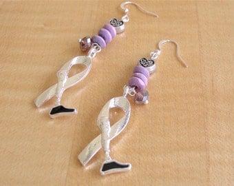 Lavender Amputee Awareness Earrings - Prosthetic Limb Awareness