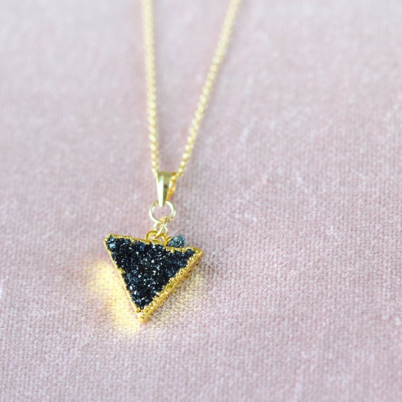 Modern Geometric Necklace - Druzy & Black Diamond Necklace