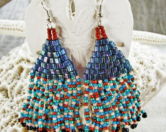 Fancy Fringe Handmade Beaded Earrings with Teal Blue Square Beads and Terra Cotta, Teal, Light Pink and Metallic Blue Seed Beads