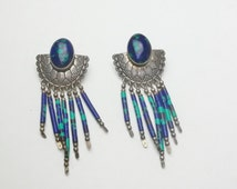 Southwest TK Signed Sterling Silver Lander Blue Turquoise Concho Pierced Post Native American Dangle Earrings on Etsy
