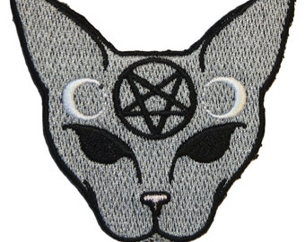 Gothic Cat Iron On Patch Embroidery Sewing DIY Customise Denim Cotton Halloween Inverted Pentagram Crescent Moon Black Satanic Horror Occult
