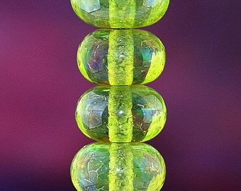 Gooseberries SET of Six Handmade Lampworked Glass Beads OOAK Iridescent Green Blue Donuts SRA Lampwork