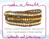 DIY KIT : gold and silver nugget triple leather wrap bracelet, khaki leather, supplies & tutorial