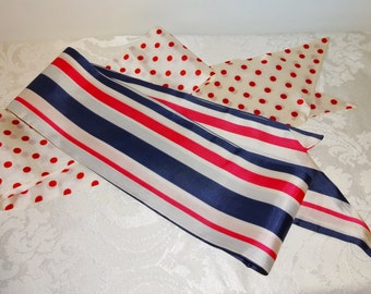 Vintage Scarf Scarves Long Polkadot Polka Dot Stripes Red White Blue Design