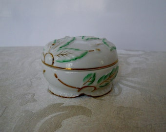 Vintage Porcelain Covered Trinket Dish Round White Green Gold Leaves I.W. Rice & Co. Made in Japan