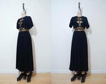 "SALE Vintage 1940s Black Crepe Stud Dress Size XL 35"" Waist"