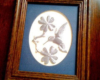 Pewter Hummingbird and Dogwoods on Linen in Wooden Frame by Reed Pewter, NC