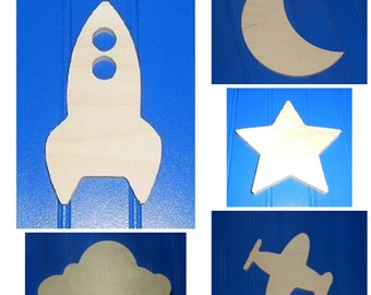"Wooden Shapes - 9"" Size - Unpainted Wood - Wall Hanging Decor - Kids Crafts - DIY Project - Outer Space - Rocket - Solar System - Celestial"
