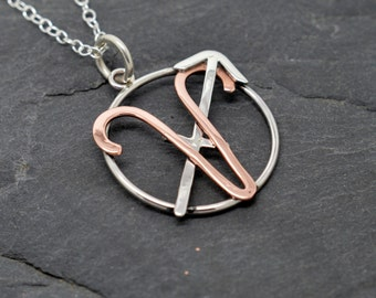Aries sagittarius combined zodiac necklace sterling silver