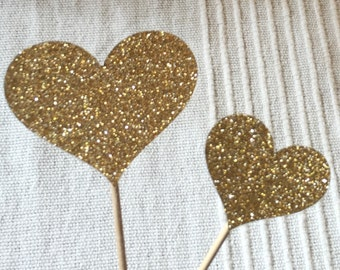 Cupcake Toppers 120 Small & Large Cupcake Toppers Sparkling GOLD HEARTS Wedding Cake Decorations