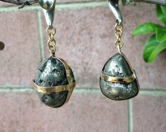 Brass Pyrite geode ear weights.