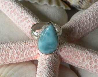 Larimar Ring Handmade Ring Natural Dominican Larimar 21x12mm Blue Gemstone Sterling Silver Ring Size 7 Take 20% Off Blue Larimar Jewelry