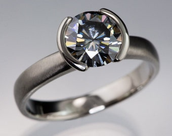 2ct Gray Round Moissanite Engagement Ring with Half Bezel Setting, Made in Palladium, platinum, white gold, yellow gold or Rose Gold