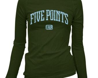 Women's Five Points Atlanta Long Sleeve Tee - S M L XL 2x - Ladies' Atlanta T-shirt, ATL, Georgia - 4 Colors