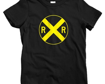 Kids Railroad Crossing T-shirt - Baby, Toddler, and Youth Sizes - Train Tee, Railway, Fun Gift - 4 Colors
