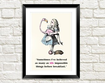 IMPOSSIBLE THINGS PRINT: Vintage Alice in Wonderland Flamingo Illustration Wall Hanging (A4 / A3 Size)