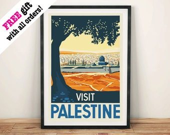 VISIT PALESTINE POSTER: Vintage Travel Advert, Middle East Art Print Wall Hanging