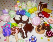 Miniature Food Charms Set of 25 Assorted Clay Jewelry Charms