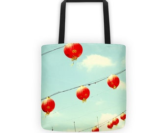 Red Chinese Lanterns Tote for Eco Shopping and School and Sundry