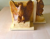 Vintage Eagle 1776 Ceramic Bookends Wings Majestic Bird