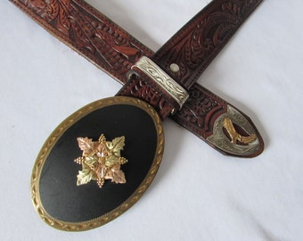 Western Belt Black Hills Gold Buckle Size 42 Tooled leather Eagle Vintage Cowboy made in USA