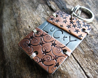 Copper Pet Id Tag - Unique Pet Id Tag - Aluminum Backer - Large Pet Tag - Mixed Metal Pet Tag - Hand stamped Pet Id Tag